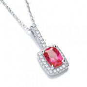"J-Jaz Micro Pave' Fancy Pendant Red Small Cz with 18"" Chain"